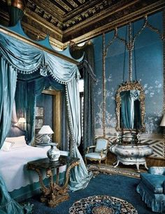 Check Out 20 Delightful Victorian Bedroom Design Ideas. Victorian furniture and architecture style was very popular in the second half of the nineteenth century. Royal Bedroom, Blue Bedroom, Bedroom Modern, Bedroom Colors, Feminine Bedroom, Teen Bedroom, Damask Bedroom, Beautiful Architecture, Interior Architecture
