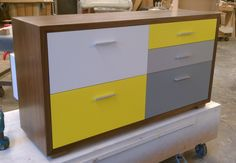 Check out this just completed WONK NYC Bedford #dresser with the Mondrian-esque drawer fronts. The yellow was a custom color choice by the client. Great example of how a bold finish can really update the look of a classic piece of furniture!