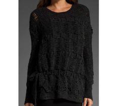 BCBG MAX AZRIA Size M Open Weave Knit Oversized Tie  Sweater Gray  NWOT $268 #BCBGMAXAZRIA #Crewneck