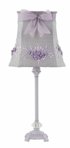 Medium Scroll Lamp with Lavender Bouquet Shade