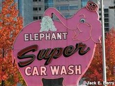 Seattle, WA - Pink Elephant Car Wash Address:  616 Battery St., Seattle, WA Directions: Downtown. On the south side of Denny Way at its intersection with 7th Ave. and Battery St.