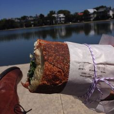 Perfect day to enjoy my goat.sheep.cow sandwich at Colonial Lake in Charleston, SC.