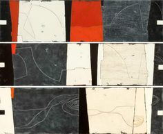 Three untitled paintings (2009) by Danish painter Anne Tholstrup (b.1952). Oil on canvas, each painting 50 x 195 cm. via Plastolux