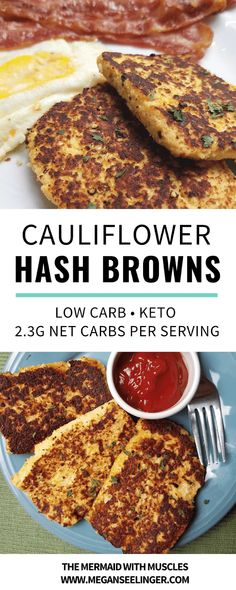 Hash browns smothered in ketchup are one of my favorite breakfast foods that I've been really missing since sticking to my Keto diet menu, but this cauliflower hash browns recipe is the perfect alternative, a pretty easy breakfast recipe and of course a k Diet Dinner Recipes, Diet Recipes, Breakfast Recipes, Vegetarian Recipes, Healthy Recipes, Diet Menu, Breakfast Ideas, Vegetarian Hash, Breakfast Gravy