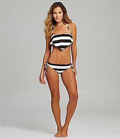 Gianni Bini Stripe Hanky Bandeau and TunnelTie Bottom Bikini Set #Dillards