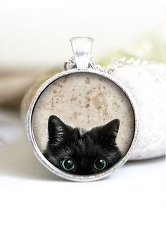 Bildhalsband med katt – Vintage  f1ae604972315