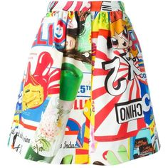 Moschino Skirt With Print found on Polyvore featuring skirts, multicolor, multi colored skirt, pleated skirt, moschino skirt, a line skirt and knee length pleated skirt