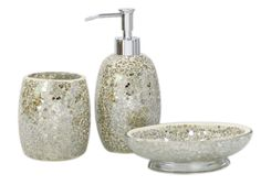 3pc modern silver black sparkle mosaic glass tile bathroom ...
