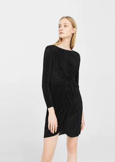 Knot pleated dress | MANGO