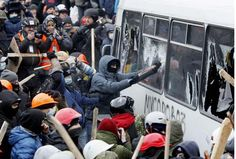 Protesters clash with police at large Ukraine rally