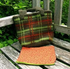 Felted Wool Purse  Recycled Plaid comes with by spinynormanknits, $30.00