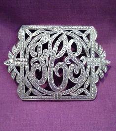 Vintage-Antique-Art-Deco-Marcasite-Sterling-Silver-FCS-Monogram-Brooch-Pin-2