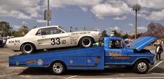 Mickey Thompson Ramp Truck and Ford Mustang Race Car Ford Pickup Trucks, Car Ford, Ford Gt, Vintage Race Car, Vintage Trucks, Old Trucks, Mustang Fastback, Mustang Cars, Ford Mustang