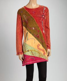 Rust & Brown Embroidered Tunic by India Boutique #zulily #zulilyfinds