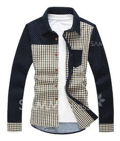 $14.06 Trendy Multi-Color Tiny Squares Splicing Shirt Collar Long Sleeve Slimming Cotton Shirt For Men