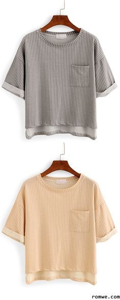 Vertical Striped High-Low Pocket T-shirt - Grey & Khaki