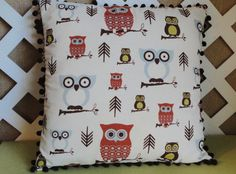 Owl Pillow Cover in Blue Grey Rust and Brown  by JRsPillowsandBags, $20.00