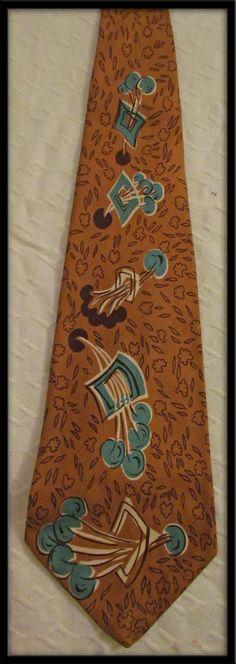 Classic Vintage 1940s 50s  Mens Silk Neck Tie. via Etsy.