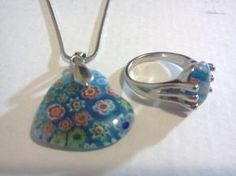 Millifeori Glass Heart Necklace & Ring Sterling Silver Jewelry Set $18.99