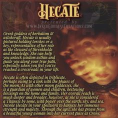 Wiccan Spell Book, Wiccan Witch, Magick Spells, Witchcraft, Greek Mythology Gods, Greek Gods And Goddesses, Roman Mythology, Hecate Goddess, Lillith Goddess