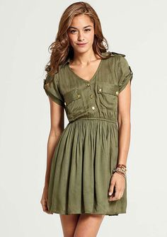 So happy olive green is back for fall ... Chelsea Shirt Dress at Alloy