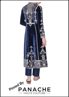 Featured in navy blue color velvet silk embroidered with gotta patti. Trouser is in raw silk fabric. For customisations please contact our sales team through WhatsApp +61470219564