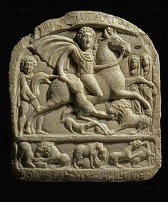 Votive stele of a Thracian horseman found near the village of Zlatna Panega, Lovech district, Bulgaria; 2nd-3rd century CE. Archeological Museum,Sofia,Bulgaria