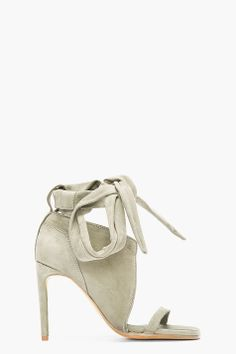 RICK OWENS Pale Green Nubuck Lace-Up Spike Bare Sandals
