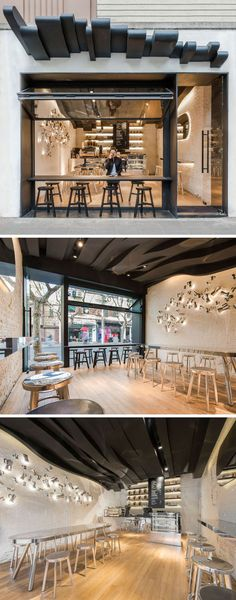 Today we're sharing 10 examples of creative and unique coffee shops and cafes found in Asia that help keep both the locals and the tourists caffeinated. drawing 10 Unique Coffee Shop Designs In Asia Design Café, Design Shop, Coffee Shop Design, Design Ideas, Wall Design, House Design, Design Projects, Design Inspiration, Coffee Shop Interior Design