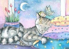 Fairy and Cat Fine Art Print by Molly Harrison by MollyHarrisonArt, $18.00