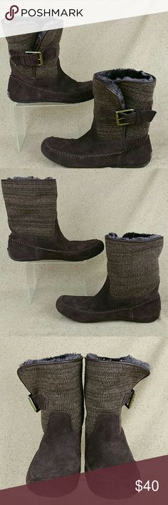 Lucky Brand Knit Ankle Boots Moccasins W 9b These shoes are pre-owned in excellent condition. There is gentle wear to the outside from use. Little to no wear to the bottoms. Look over the pictures carefully before purchase. Lucky Brand Shoes Moccasins