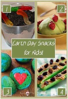 Earth Day Snacks for Kids - Dirt Cups, Ladybugs on a Stick, Earth Day Cupcakes, and Ants on a Log