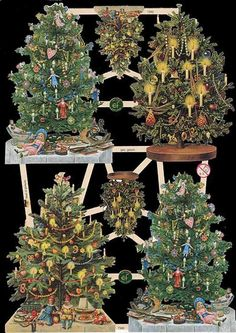 Original German Die Cut Scraps Victorian Father Christmas Tree Santa Noël | eBay