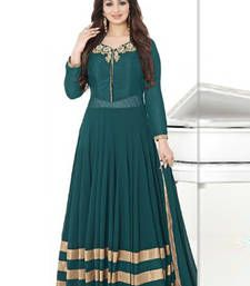 Buy Green georgette embroidered semi stitched salwar with dupatta anarkali-salwar-kameez online