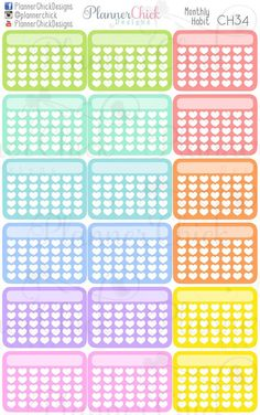 Monthly Habit Planner stickers. Fits perfectly in the vertical Erin Condren Life Planner and the Happy Planner!