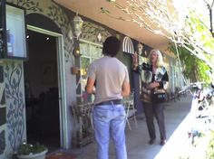 Patty Melton's studio; Patty is being filmed for tv......