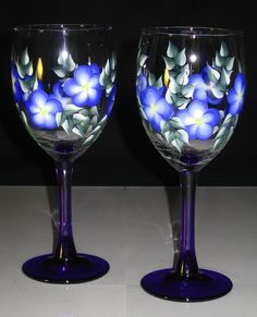 Hand Painted Colbalt Blue Wine Glasses by Lauriesnwcrafts on Etsy, $18.00