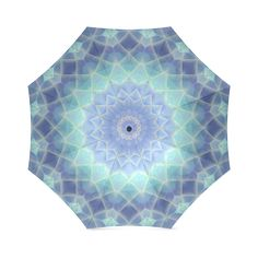 Blue and Turquoise mosaic Foldable Umbrella (Model Umbrellas, Pouches, Travel Bags, Mosaic, Rain, Turquoise, Abstract, Model, Pattern