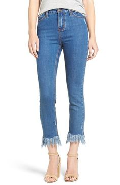 Free shipping and returns on MOON RIVER Frayed Hem High Rise Crop Jeans at Nordstrom.com. Dramatically shredded hems add trend-right embellishment to slim-fitting jeans styled with a vintage-inspired high waist.