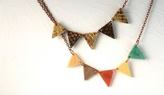 Brown Tan Snakeskin Pennant Necklace Fall by ThePolkadotMagpie