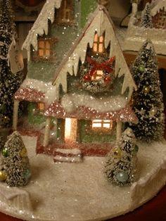 cardboard christmas houses   JOYWORKS Vintage paper christmas house   Dar1015