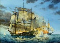 Oil marine and ship painting of a barbary pirate galleon by Richard C Moore