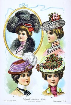 """Stylish autumn season, American Gilded Age ladies hats - Image in, """"The Delineator"""", September, c.1901 ~~ {cwl} ~~ (via:flickr)"""