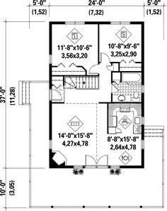 888 Sq Ft - Small cottage plan - This is a good wrap - around porch, but it is too small and the roof should extend more.