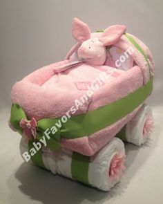 #Pink and Green Baby Carriage Diaper Cake - Baby Girl Diaper Cakes
