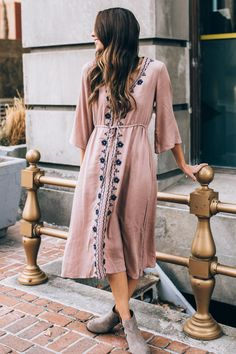The Venezia Embroidered Dress in Dusty Rose