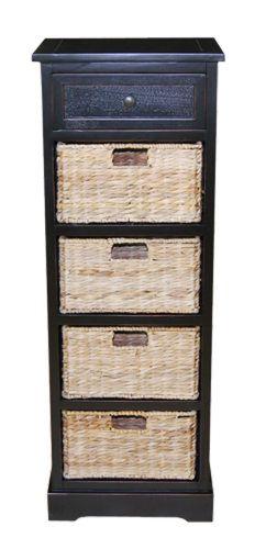 Petit meuble rangement meuble bois blanc 4 paniers paille marron meubles - Meuble rangement panier ...