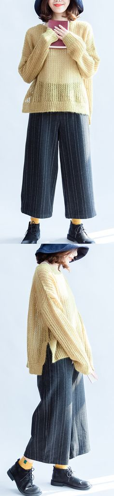 yellow-green-cotton-sweater-oversize-side-open-cable-knit-hollow-out-sweaters