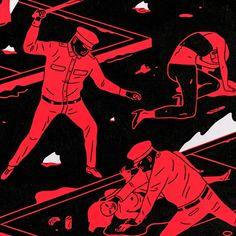 As pinturas de Cleon Peterson retratam um distópico, onde a violência é autoridade e o mal reina sobre todas as circunstâncias.