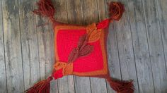 Red orange brown crochet throw pillow Fall leaves pillow with